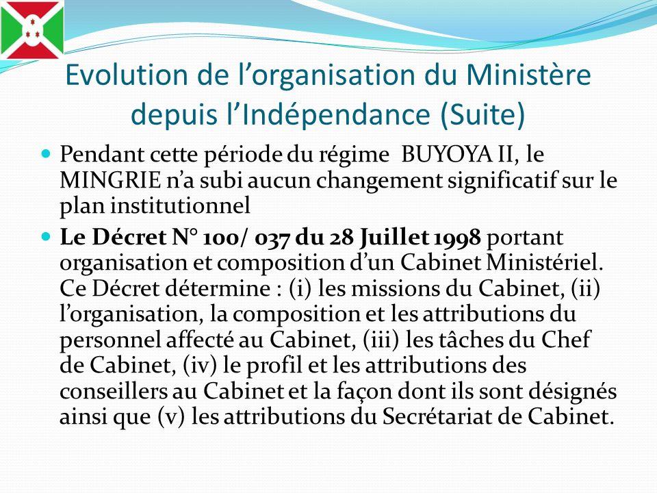 Evolution de lorganisation du Ministère depuis lIndépendance (Suite) Pendant cette période du régime BUYOYA II, le MINGRIE na subi aucun changement si