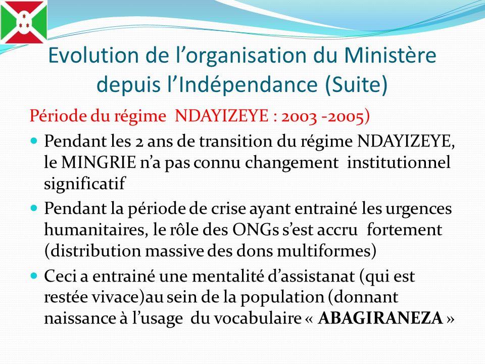 Evolution de lorganisation du Ministère depuis lIndépendance (Suite) Période du régime NDAYIZEYE : 2003 -2005) Pendant les 2 ans de transition du régi