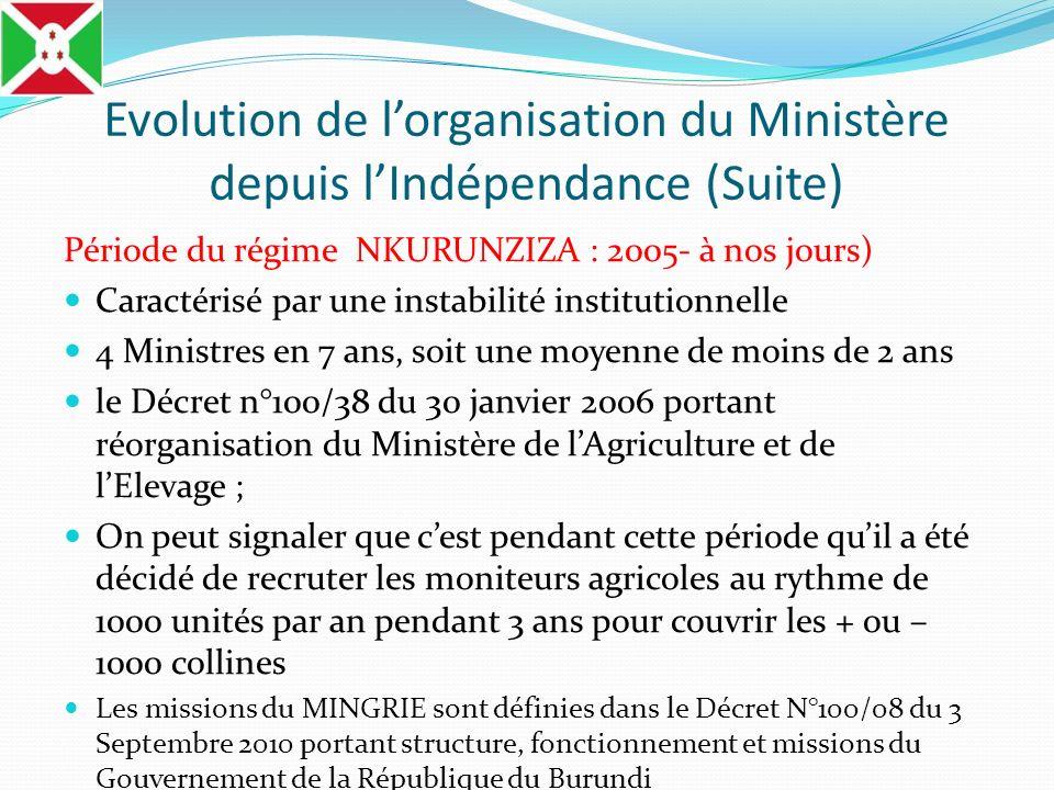 Evolution de lorganisation du Ministère depuis lIndépendance (Suite) Période du régime NKURUNZIZA : 2005- à nos jours) Caractérisé par une instabilité