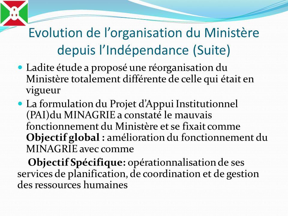 Evolution de lorganisation du Ministère depuis lIndépendance (Suite) Ladite étude a proposé une réorganisation du Ministère totalement différente de c