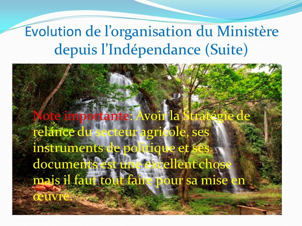 Evolution de lorganisation du Ministère depuis lIndépendance (Suite) Note importante: Avoir la Stratégie de relance du secteur agricole, ses instrumen