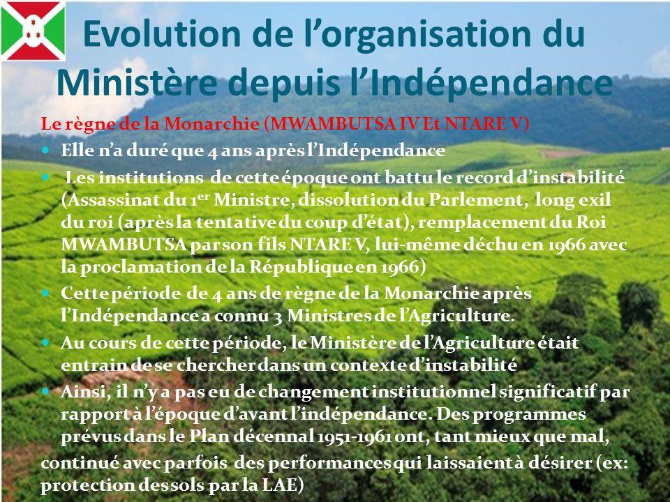 Evolution de lorganisation du Ministère depuis lIndépendance Le règne de la Monarchie (MWAMBUTSA IV Et NTARE V) Elle na duré que 4 ans après lIndépend