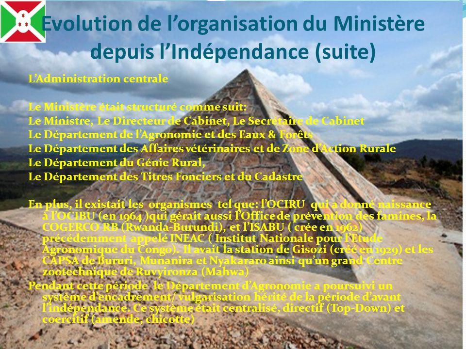 LAdministration centrale Le Ministère était structuré comme suit: Le Ministre, Le Directeur de Cabinet, Le Secrétaire de Cabinet Le Département de lAg