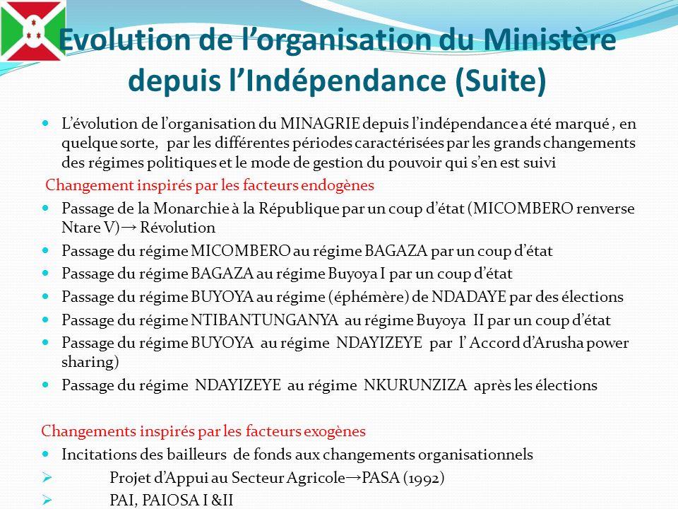 Evolution de lorganisation du Ministère depuis lIndépendance (Suite) Récente réorganisation du MINAGRIE par Un nouveau décret N°100/300 du 25 Novembre 2011 Justification dune réorganisation Le Décret n° 100/38 du 30 Janvier 2006 nétait plus adapté depuis la création de lARFIC et la Privatisation de lAbattoir de Bujumbura (APB) Une étude de la FAO (Février 2009) sur lAppui au renforcement des capacités des Organisations Professionnelles Agricoles (OPA) a abouti sur une proposition dun cadre institutionnel en accompagnement des OPA au Burundi