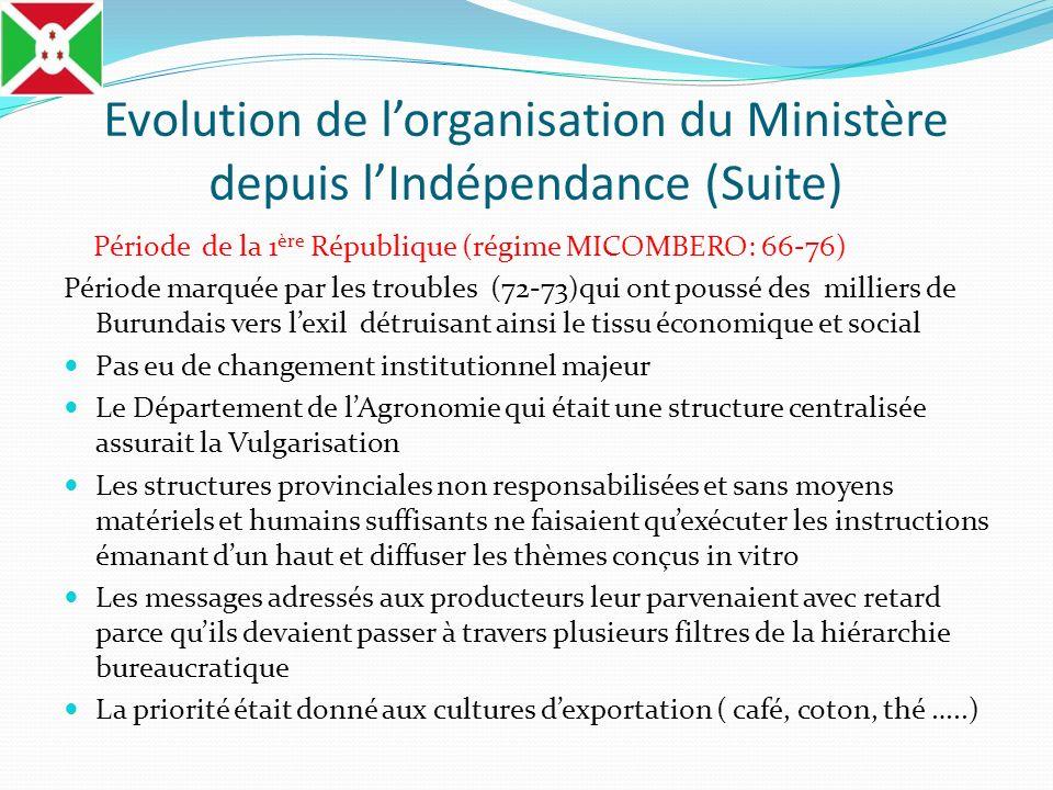 Evolution de lorganisation du Ministère depuis lIndépendance (Suite) Période de la 1 ère République (régime MICOMBERO: 66-76) Période marquée par les