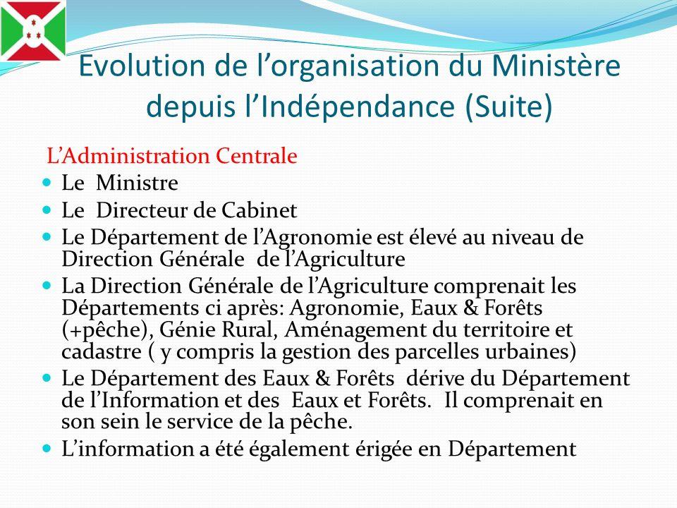 Evolution de lorganisation du Ministère depuis lIndépendance (Suite) LAdministration Centrale Le Ministre Le Directeur de Cabinet Le Département de lA
