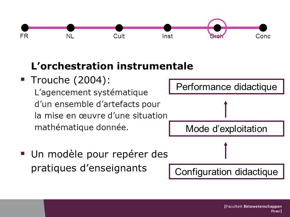 Lorchestration instrumentale Trouche (2004): Lagencement systématique dun ensemble dartefacts pour la mise en œuvre dune situation mathématique donnée.