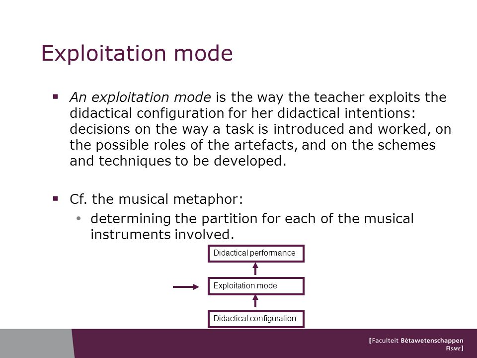 Exploitation mode An exploitation mode is the way the teacher exploits the didactical configuration for her didactical intentions: decisions on the way a task is introduced and worked, on the possible roles of the artefacts, and on the schemes and techniques to be developed.
