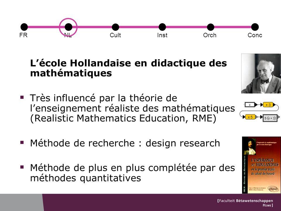 Lécole Hollandaise en didactique des mathématiques Très influencé par la théorie de lenseignement réaliste des mathématiques (Realistic Mathematics Education, RME) Méthode de recherche : design research Méthode de plus en plus complétée par des méthodes quantitatives FRConcCultOrchNLInst