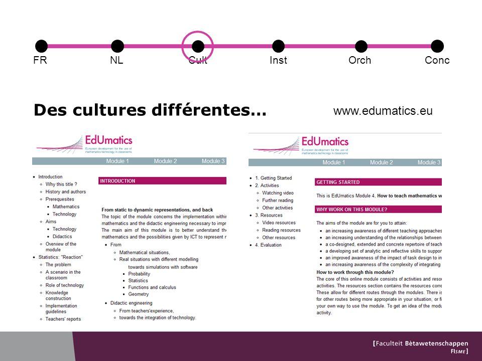Des cultures différentes… FRConcCultOrchNLInst www.edumatics.eu