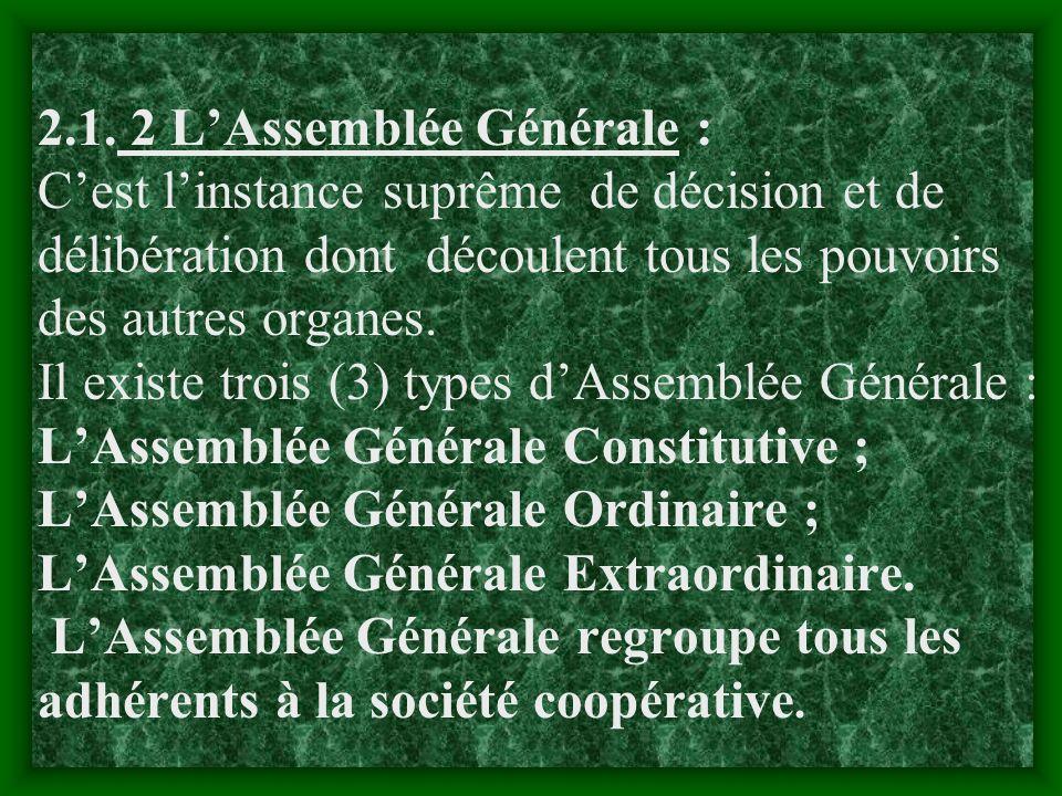 II. GESTION ADMINISTRATIVE 2.1-les mécanismes de fonctionnement des organes dune société coopérative 2.1.1-les organes dune société coopérative Une so