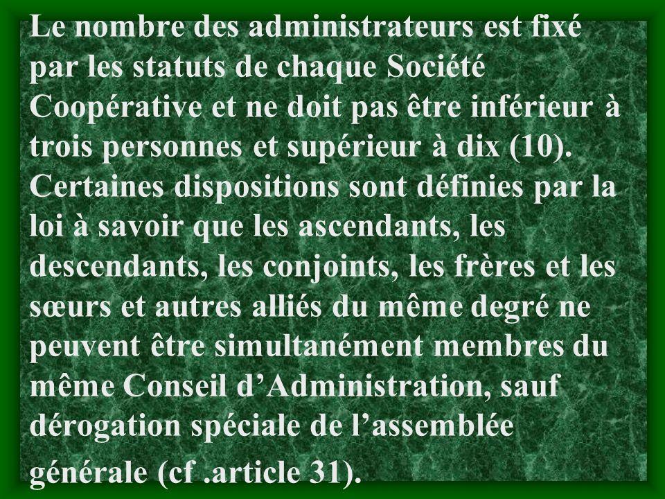 2.1.3 Le conseil dAdministration : 2.1.3 Le conseil dAdministration : a) Définition: Cest lorgane dexécution dune société coopérative dont les membres
