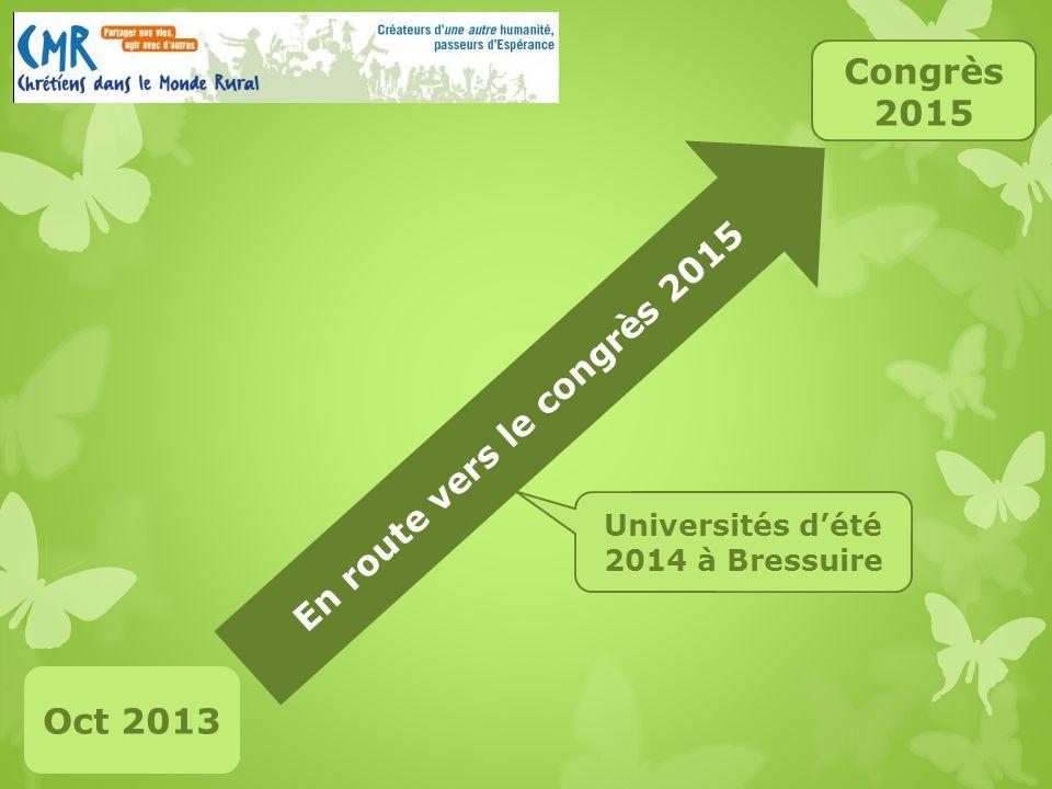 En route vers le congrès 2015 Oct 2013 Congrès 2015 Universités dété 2014 à Bressuire