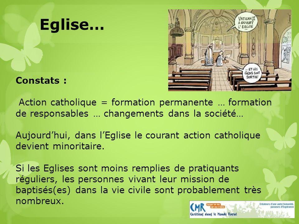 Constats : Action catholique = formation permanente … formation de responsables … changements dans la société… Aujourdhui, dans lEglise le courant action catholique devient minoritaire.