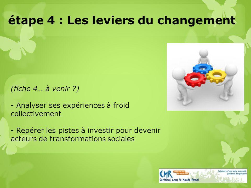 (fiche 4… à venir ) - Analyser ses expériences à froid collectivement - Repérer les pistes à investir pour devenir acteurs de transformations sociales étape 4 : Les leviers du changement