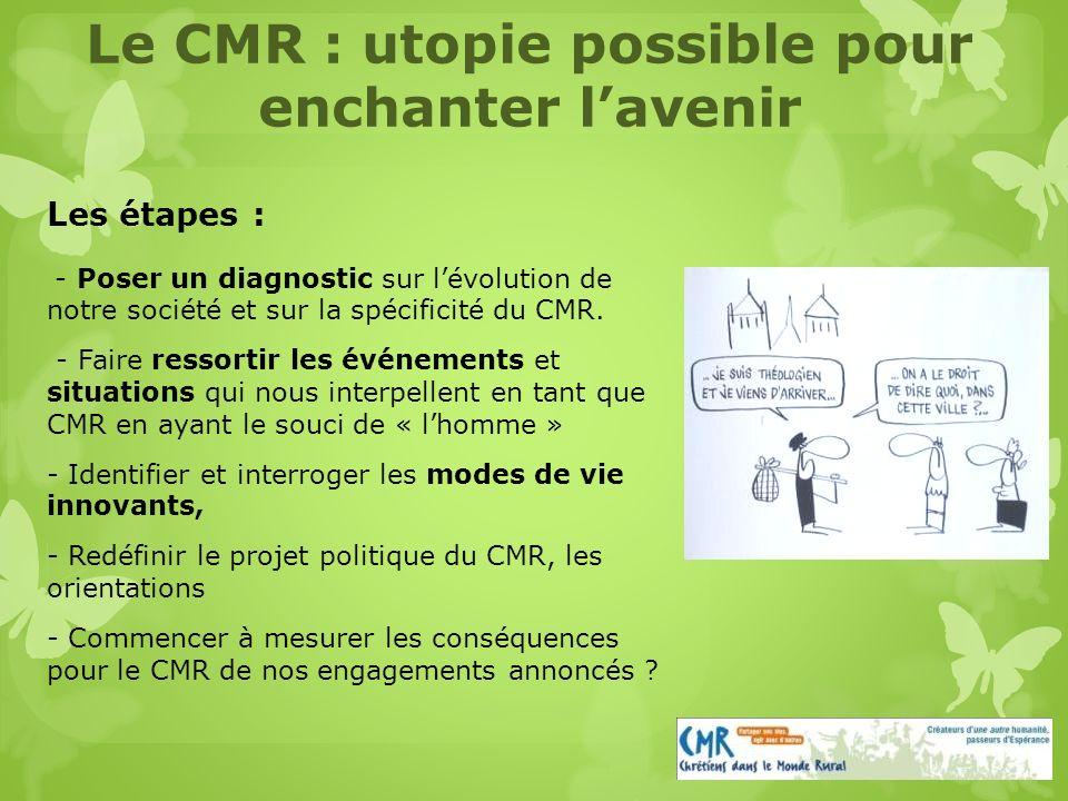 Les étapes : - Poser un diagnostic sur lévolution de notre société et sur la spécificité du CMR.
