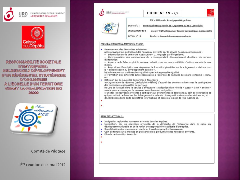 Comité de Pilotage 1 ère réunion du 4 mai 2012