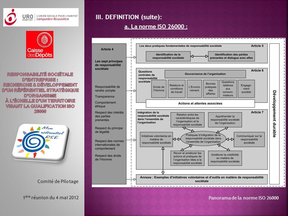 III. DEFINITION (suite): a. La norme ISO 26000 : Panorama de la norme ISO 26000 Comité de Pilotage 1 ère réunion du 4 mai 2012