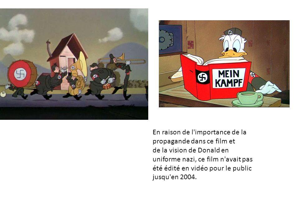 En raison de l importance de la propagande dans ce film et de la vision de Donald en uniforme nazi, ce film n avait pas été édité en vidéo pour le public jusqu en 2004.
