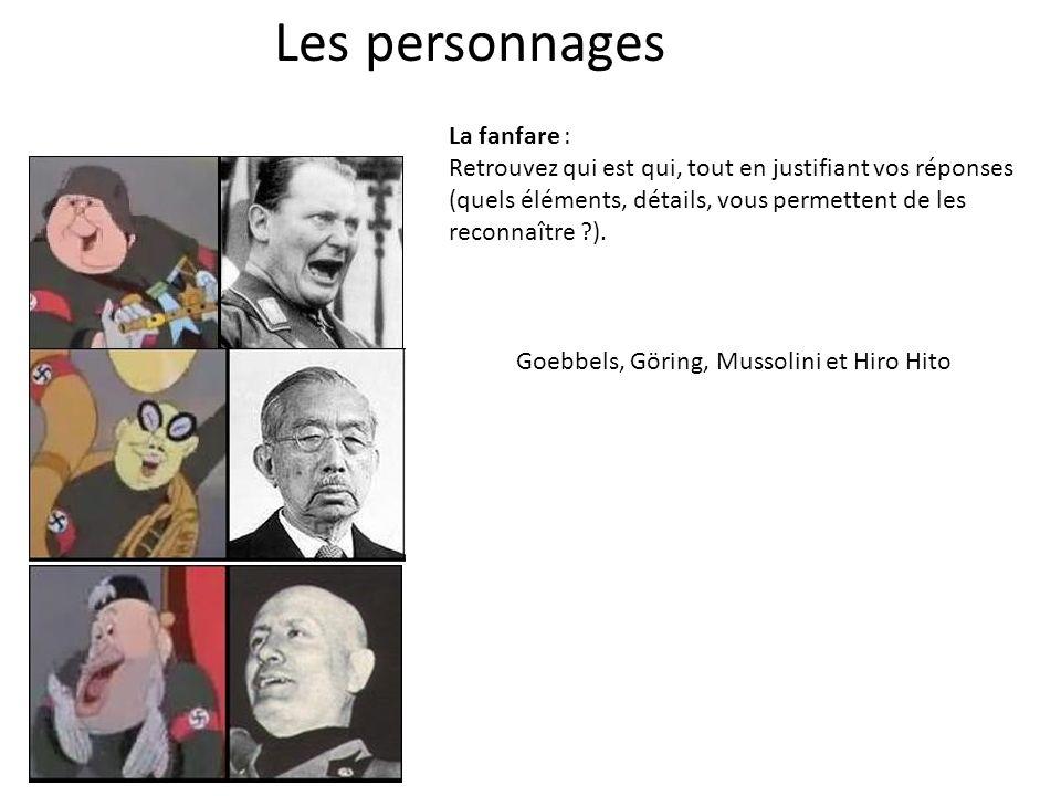 Les personnages Goebbels, Göring, Mussolini et Hiro Hito La fanfare : Retrouvez qui est qui, tout en justifiant vos réponses (quels éléments, détails, vous permettent de les reconnaître ?).