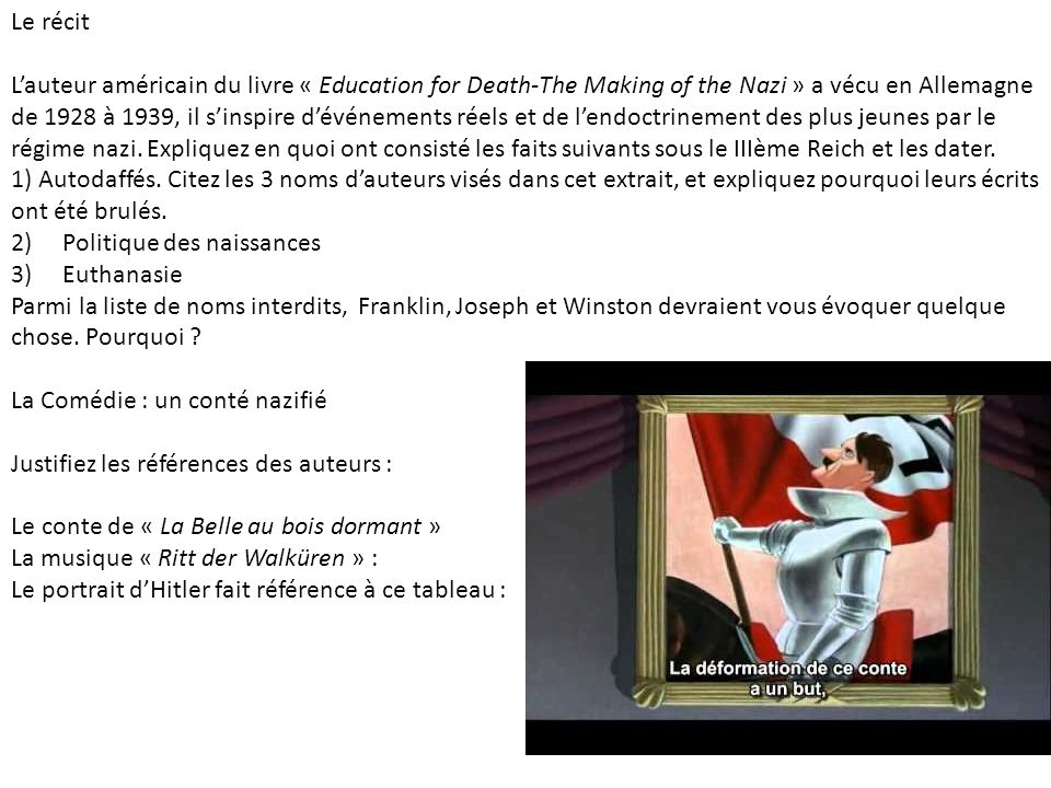 Le récit Lauteur américain du livre « Education for Death-The Making of the Nazi » a vécu en Allemagne de 1928 à 1939, il sinspire dévénements réels e