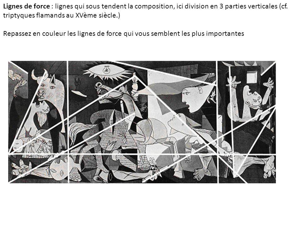Lignes de force : lignes qui sous tendent la composition, ici division en 3 parties verticales (cf.
