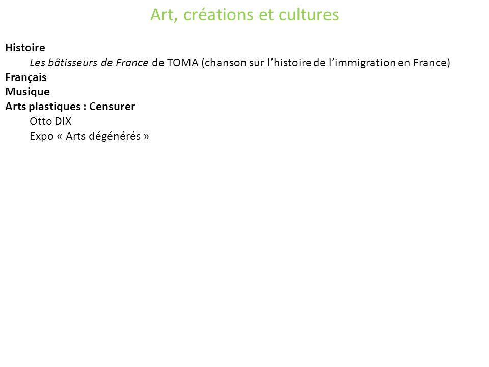 Art, créations et cultures Histoire Les bâtisseurs de France de TOMA (chanson sur lhistoire de limmigration en France) Français Musique Arts plastiques : Censurer Otto DIX Expo « Arts dégénérés »