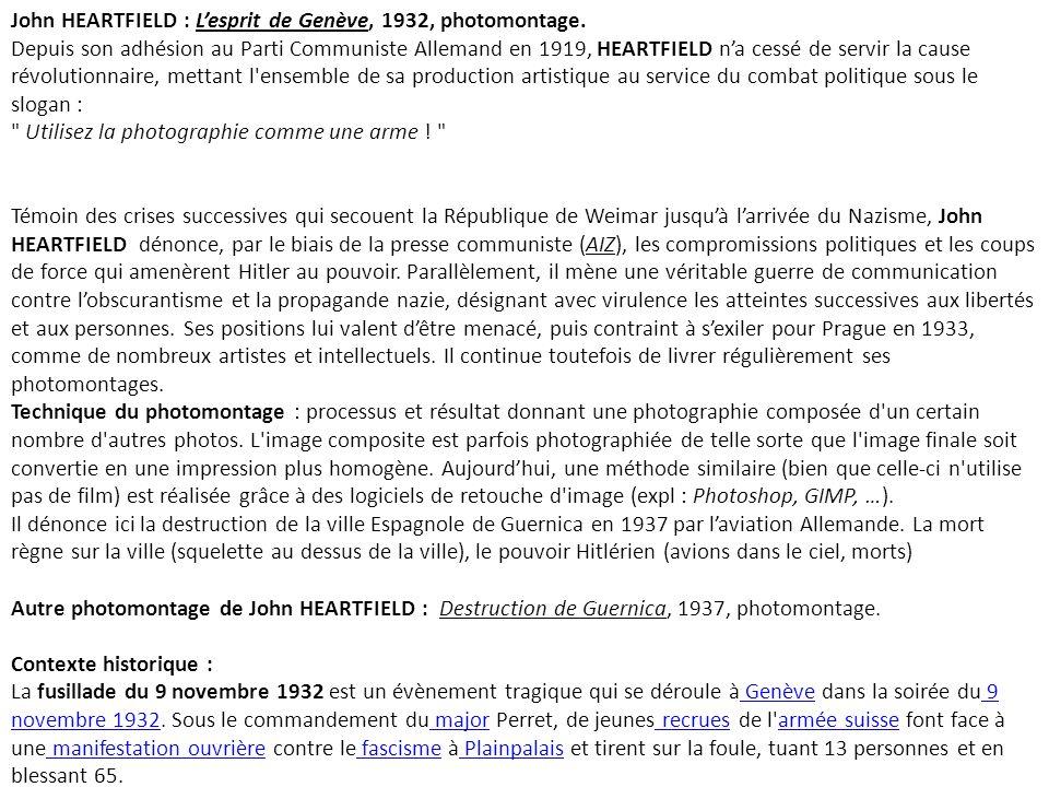 John HEARTFIELD : Lesprit de Genève, 1932, photomontage.