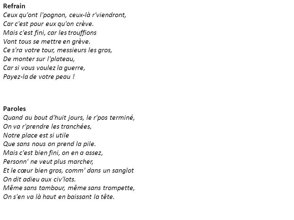 Aux armes et caetera de Serge Gainsbourg, 1979 Clip : http://www.youtube.com/watch?v=mLq7EcvRaf0http://www.youtube.com/watch?v=mLq7EcvRaf0 Concert de Strasbourg annulé : http://www.dailymotion.com/video/xc0py7_gainsbourg-et-son-concert-annule-a_shortfilms Paroles de la chanson : Allons enfant de la patrie Le jour de gloire est arrivé Contre nous de la tyrannie L étendard sanglant est levé Aux armes et caetera Entendez-vous dans les campagnes Mugir ces féroces soldats Ils viennent jusque dans nos bras Egorger nos fils nos compagnes Aux armes et caetera Amour sacré de la patrie Conduis soutiens nos bras vengeurs Liberté liberté chérie Combats avec tes défenseurs Aux armes et caetera Nous entrerons dans la carrière Quand nos aînés n y seront plus Nous y trouverons leur poussière Et la trace de leurs vertus Aux armes et caetera