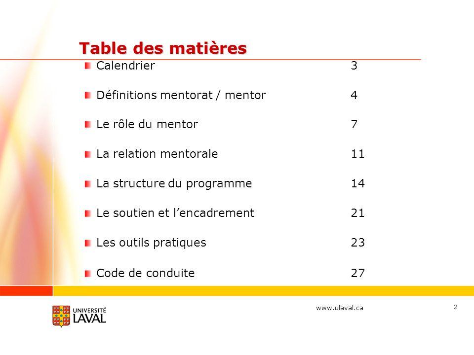 www.ulaval.ca 2 Table des matières Table des matières Calendrier3 Définitions mentorat / mentor4 Le rôle du mentor7 La relation mentorale11 La structure du programme14 Le soutien et lencadrement21 Les outils pratiques23 Code de conduite27