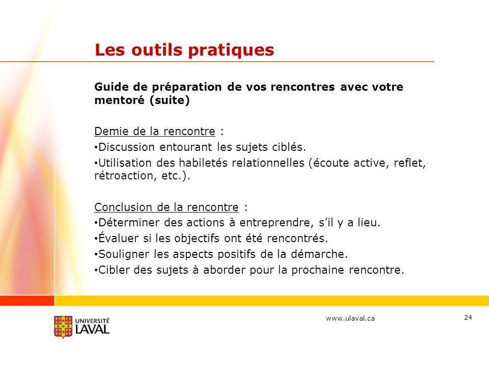 www.ulaval.ca 24 Les outils pratiques Guide de préparation de vos rencontres avec votre mentoré (suite) Demie de la rencontre : Discussion entourant les sujets ciblés.