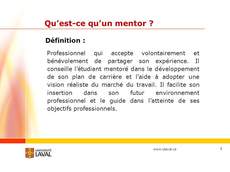 www.ulaval.ca 6 Mes objectifs Avant votre première rencontre avec votre mentoré, prenez quelques instants pour inscrire les objectifs que vous souhaitez atteindre en participant au Programme Mentor cette année.