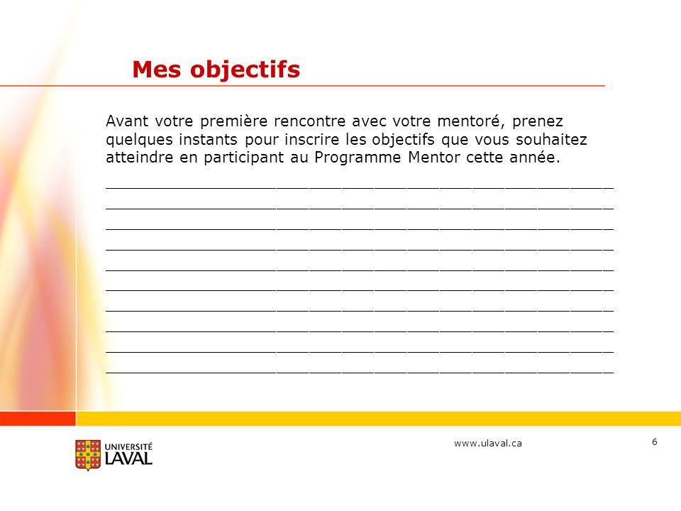 www.ulaval.ca 17 La structure du programme Thématique 3 : Développement de carrière (fév 2012) Attitudes à privilégier : Laccent est mis sur linformation liée aux besoins du mentoré et ses perspectives de carrière.