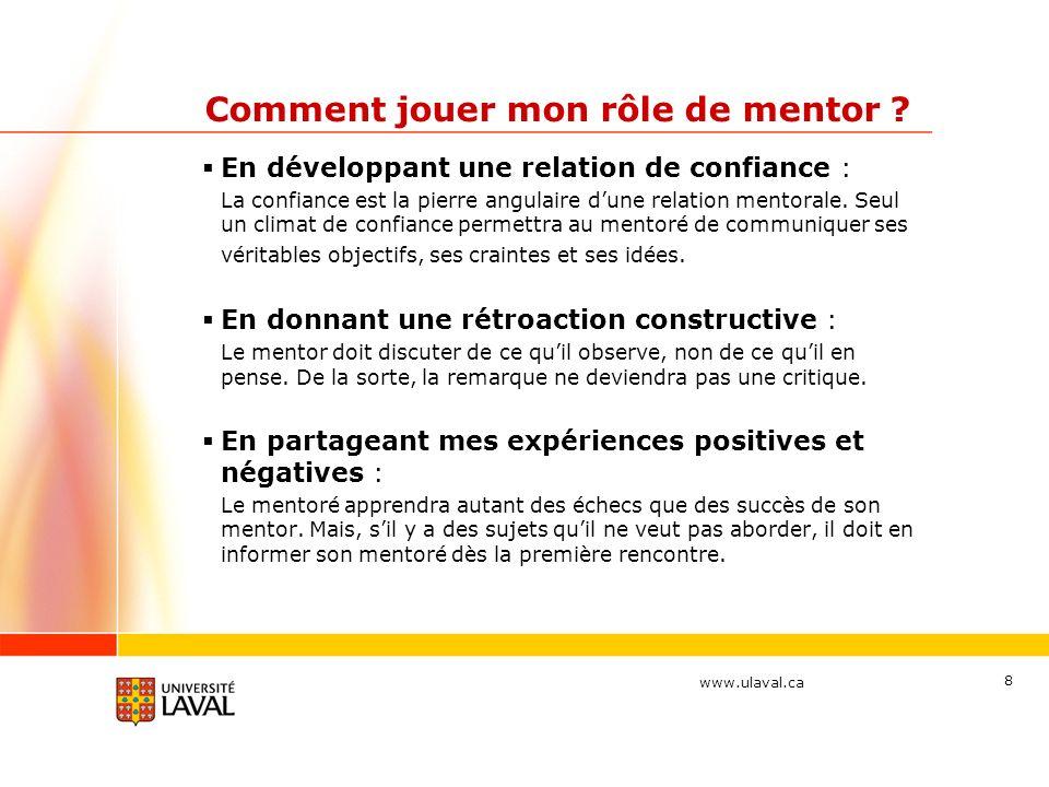 www.ulaval.ca 19 La structure du programme Thématique 4 : Réseautage (mars-avril 2012) Attitudes à privilégier : Laccent est mis sur la vision du mentoré.
