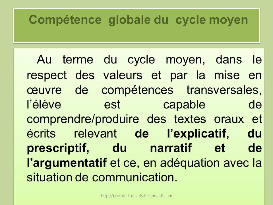 Compétence globale du cycle moyen Au terme du cycle moyen, dans le respect des valeurs et par la mise en œuvre de compétences transversales, lélève es