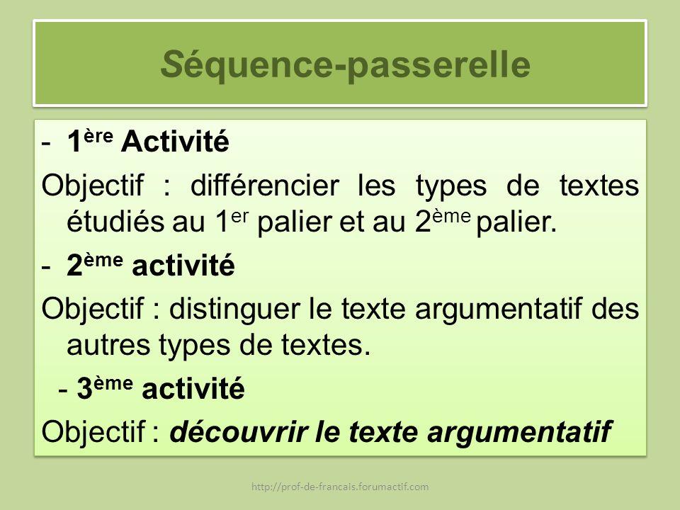 Séquence-passerelle -1 ère Activité Objectif : différencier les types de textes étudiés au 1 er palier et au 2 ème palier. -2 ème activité Objectif :