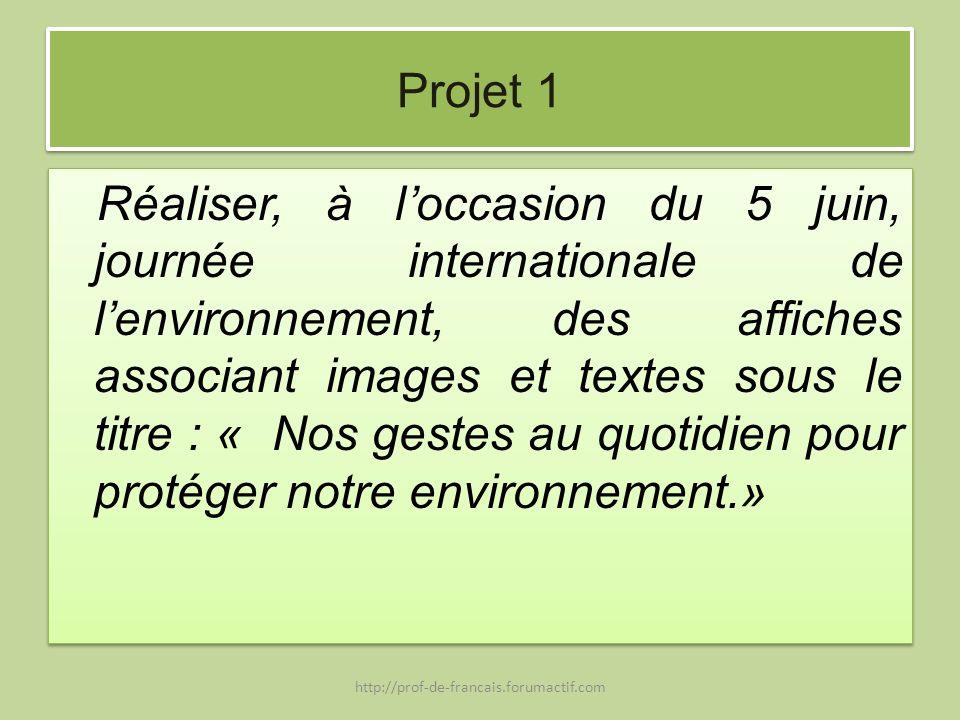 Projet 1 Réaliser, à loccasion du 5 juin, journée internationale de lenvironnement, des affiches associant images et textes sous le titre : « Nos gest