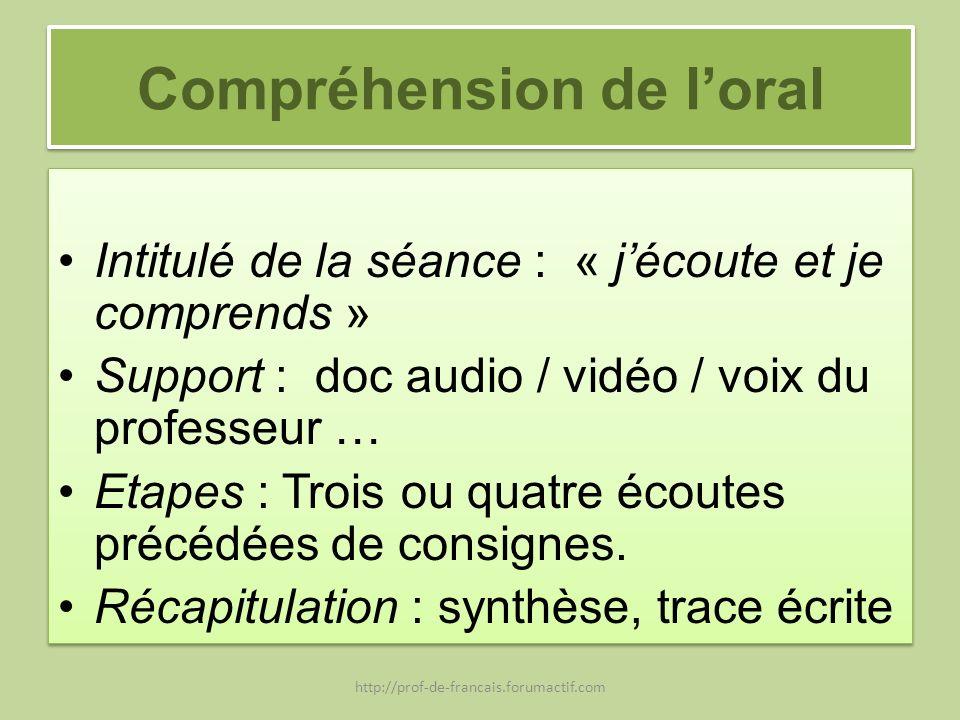 Compréhension de loral Intitulé de la séance : « jécoute et je comprends » Support : doc audio / vidéo / voix du professeur … Etapes : Trois ou quatre
