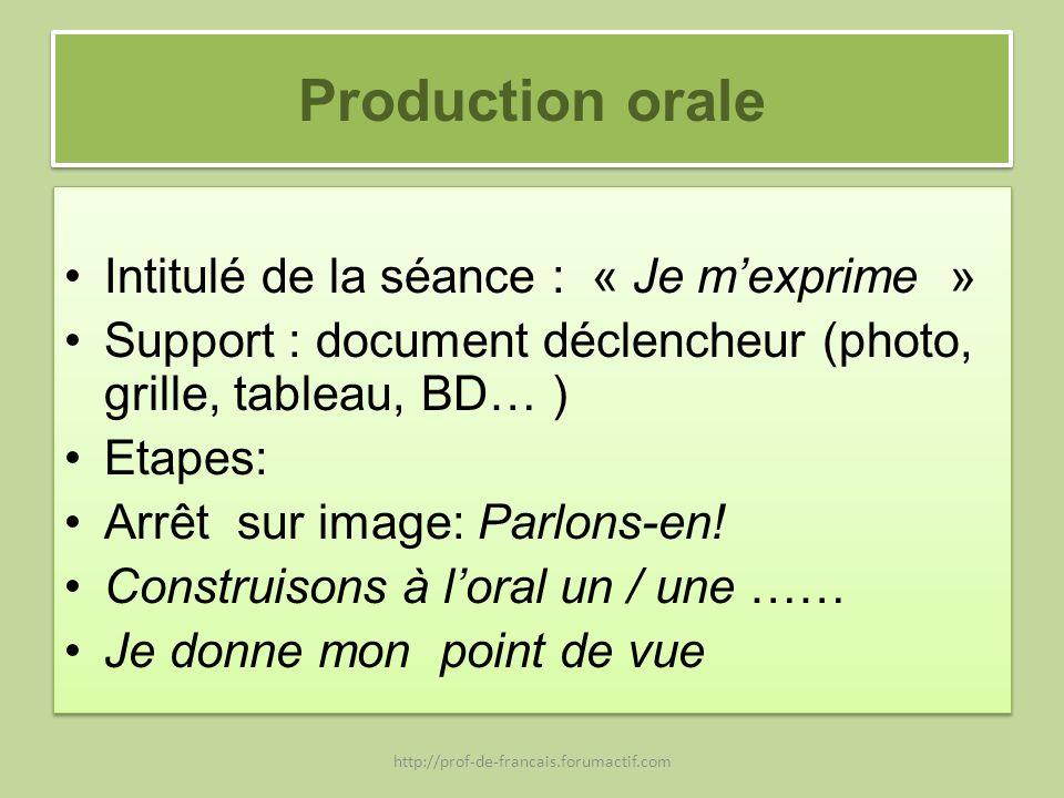 Production orale Intitulé de la séance : « Je mexprime » Support : document déclencheur (photo, grille, tableau, BD… ) Etapes: Arrêt sur image: Parlon