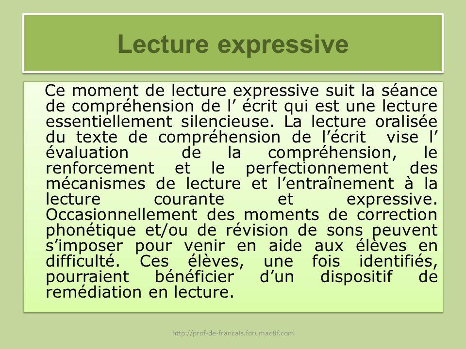 Lecture expressive Ce moment de lecture expressive suit la séance de compréhension de l écrit qui est une lecture essentiellement silencieuse. La lect