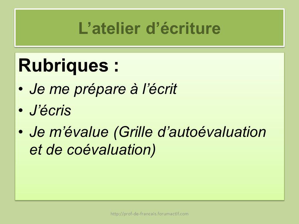 Latelier décriture Rubriques : Je me prépare à lécrit Jécris Je mévalue (Grille dautoévaluation et de coévaluation) Rubriques : Je me prépare à lécrit