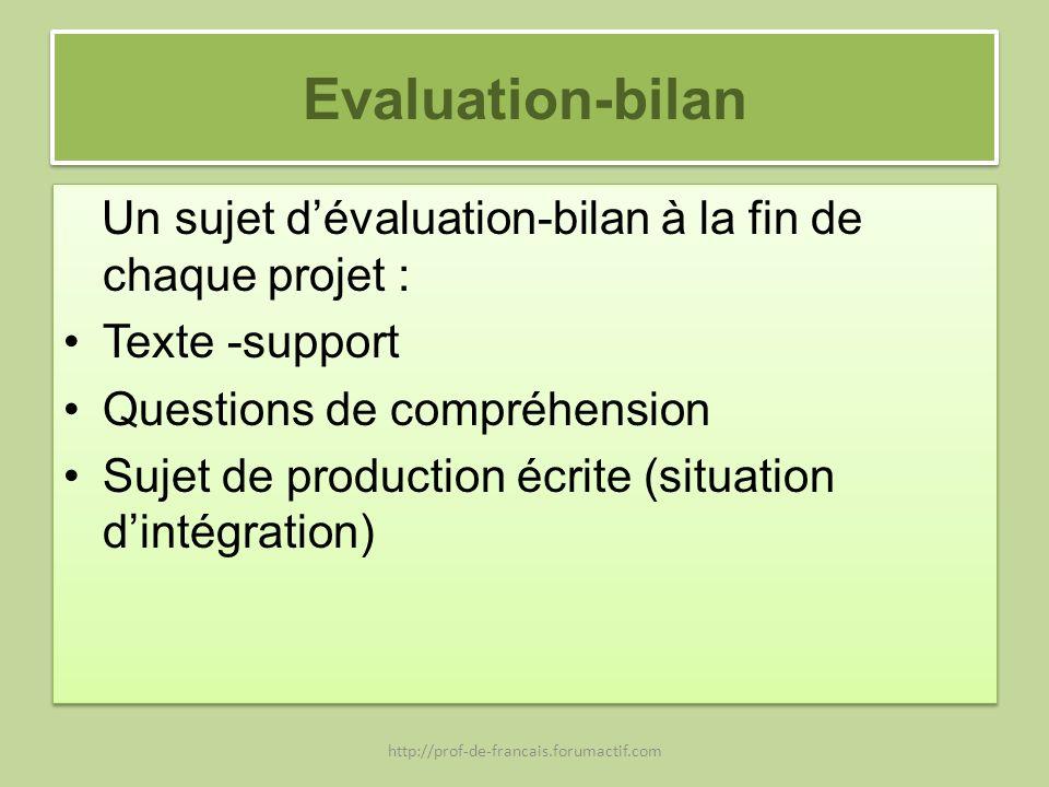 Evaluation-bilan Un sujet dévaluation-bilan à la fin de chaque projet : Texte -support Questions de compréhension Sujet de production écrite (situatio