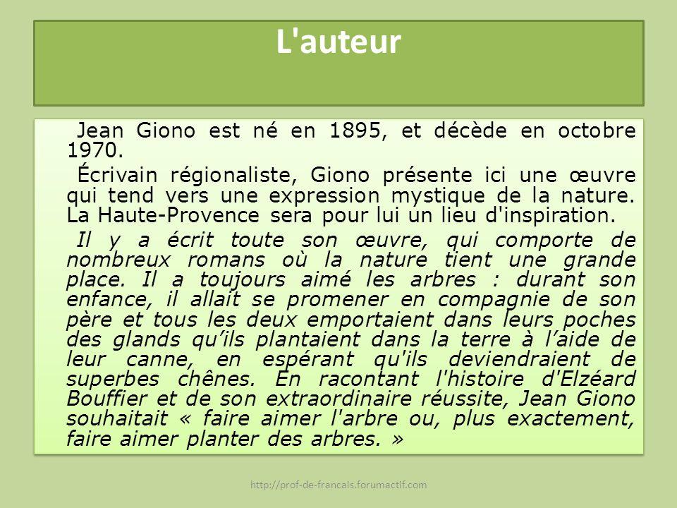 L'auteur Jean Giono est né en 1895, et décède en octobre 1970. Écrivain régionaliste, Giono présente ici une œuvre qui tend vers une expression mystiq