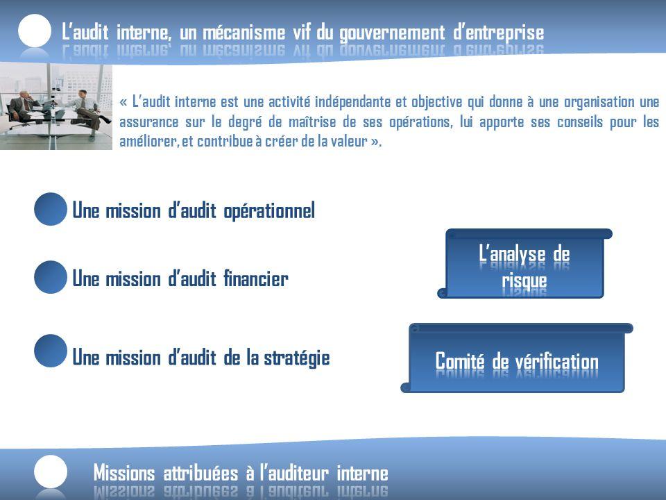 « Laudit interne est une activité indépendante et objective qui donne à une organisation une assurance sur le degré de maîtrise de ses opérations, lui