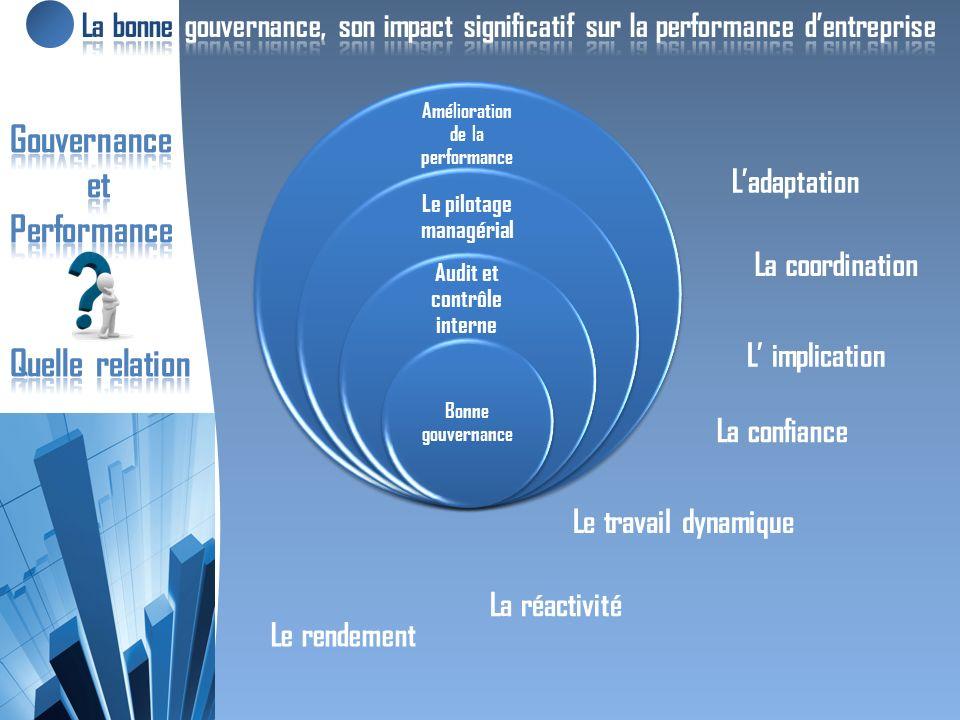 Amélioration de la performance Le pilotage managérial Audit et contrôle interne Bonne gouvernance La confiance Le travail dynamique Le rendement Ladaptation L implication La coordination La réactivité