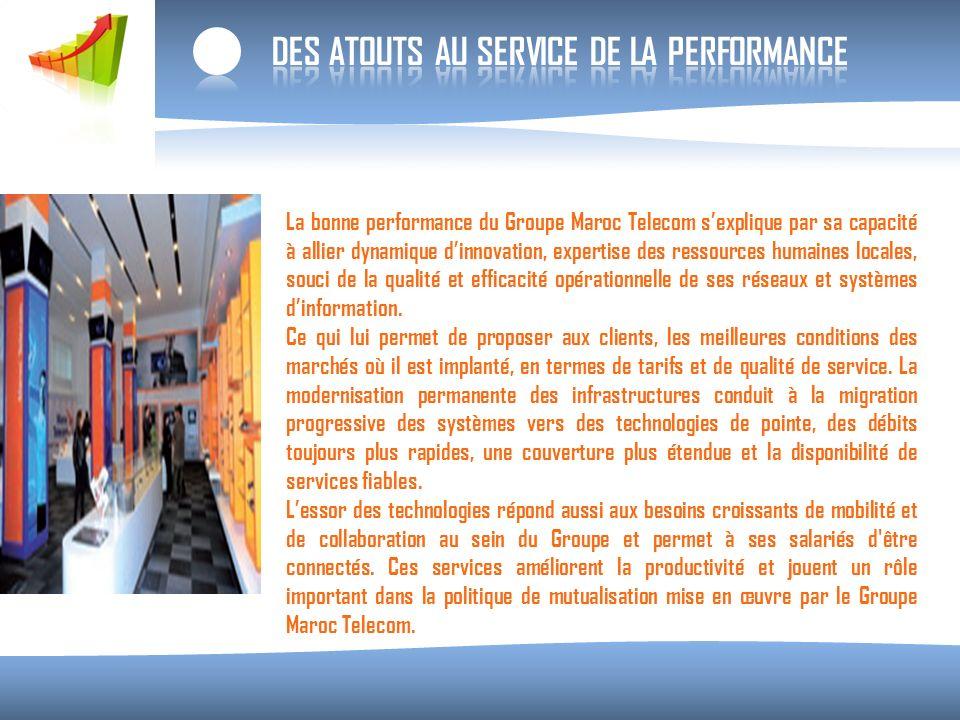 La bonne performance du Groupe Maroc Telecom sexplique par sa capacité à allier dynamique dinnovation, expertise des ressources humaines locales, souci de la qualité et efficacité opérationnelle de ses réseaux et systèmes dinformation.