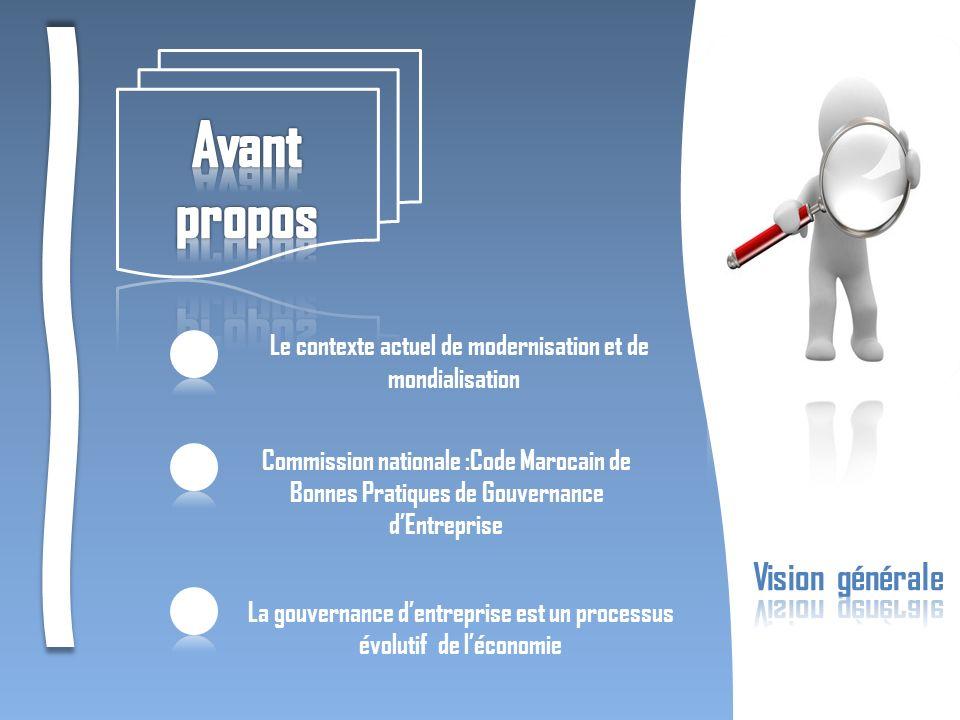 Le contexte actuel de modernisation et de mondialisation Commission nationale :Code Marocain de Bonnes Pratiques de Gouvernance dEntreprise La gouvern