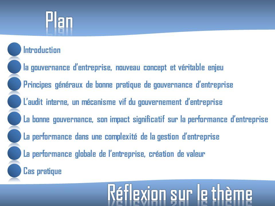 Introduction la gouvernance dentreprise, nouveau concept et véritable enjeu Principes généraux de bonne pratique de gouvernance dentreprise Laudit int
