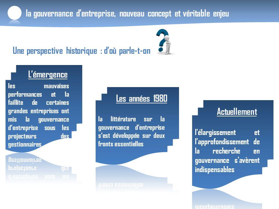 la gouvernance dentreprise, nouveau concept et véritable enjeu Une perspective historique : doù parle-t-on Lémergence Les années 1980 Actuellement