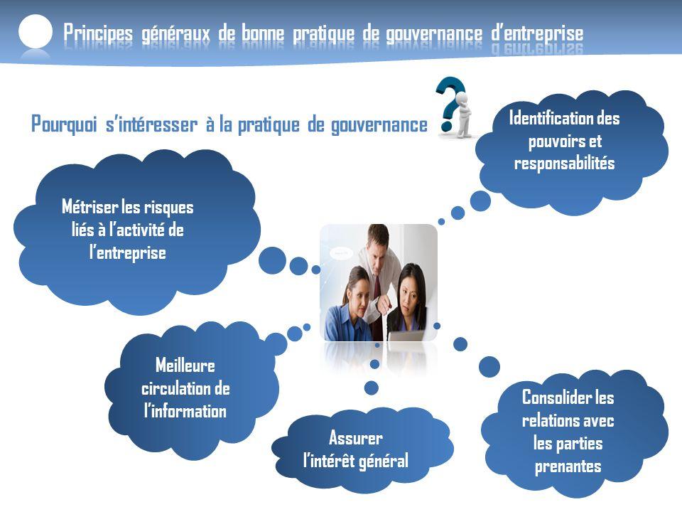 Principes généraux de bonne pratique de gouvernance dentreprise Pourquoi sintéresser à la pratique de gouvernance Identification des pouvoirs et respo